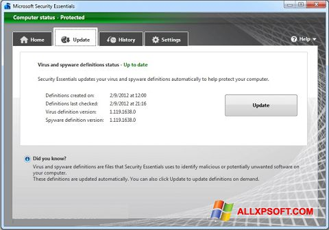 Снимка на екрана Microsoft Security Essentials за Windows XP