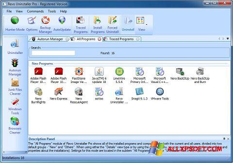 Снимка на екрана Revo Uninstaller Pro за Windows XP